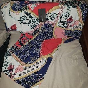 Zelma Unbalanced Dress Navy/Red - XL